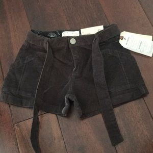 Brown corduroy shorts with belt